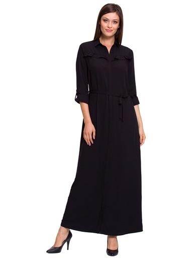 LC Waikiki Uzun Gömlek Elbise Siyah